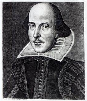 Portrait of William Shakespeare, engraved by Martin Droeshout, 1623 (engraving)