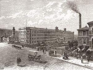 Saltaire Mills, Bradford, West Yorkshire, England (engraving)