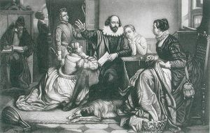 Shakespeare with his Family, at Stratford, Reciting the Tragedy Hamlet (stipple engraving