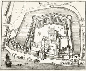 The Tower of London in the 15th century, from 'The National and Domestic History