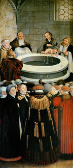 artists/lucas cranach/triptych left panel philipp melanchthon performs