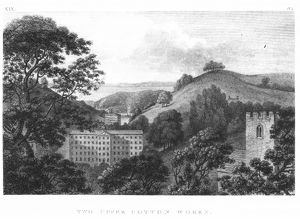 Two Upper Cotton Works, New Lanark Textile mills, 1796 (engraving) (b&w photo)