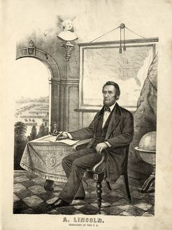 A. Lincoln, President of the U.S.; [between 1862 and 1864]; 1 print : lithograph ; 34 (35