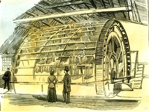 Aberdeen, Water-Wheel at the Granholm Tweed Mills, 1885, UK