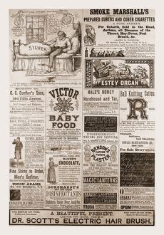 Advertising 1880, USA, US, America, 19th century engraving
