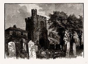 ANCIENT BELL TOWER, BARKING ABBEY, UK, engraving 1881 - 1884