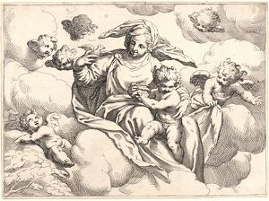 Anonymous (Italian). Virgin and Child with Angels, ca. 1610-1640. Etching on laid paper