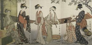 Arai-bari] = [Washing and stretching cloth], Kitagawa, Utamaro (1753?-1806), (Artist)