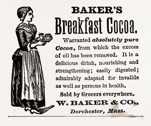 Baker's Breakfast Cocoa', 1880, 19th century engraving, USA, America