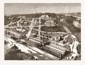 BIRD'S-EYE VIEW OF THE AMERICAN CENTENNIAL EXHIBITION AND GROUNDS, US, U.S., USA, U