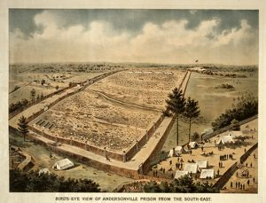 Bird's-eye view of Andersonville Prison from the south-east; c1890.; 1 print