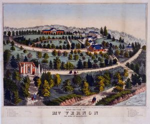 Birds eye view of Mt. Vernon the home of Washington; G. & F. Bill (Firm),; c1859