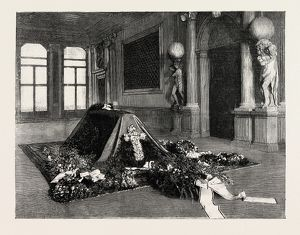 The body of Mr. Browning, lying in the hall of the palazzo Rezzonico, Venice Italy 1889
