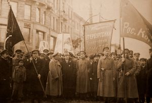 Bolshevik leaders in front of a procession for the 1st of May, 1920. In the center