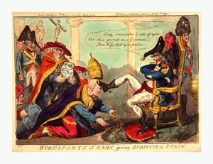 Buonaparte at Rome giving audience in state, Cruikshank, Isaac, 1756?-1811?, engraving