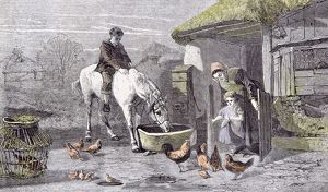 The Farmhouse Porch; Walter Goodall; Children; Horse; Chicken, 19th century, farm