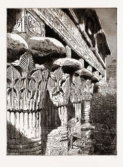 CAPITALS AND ARCHITRAVE OF THE TEMPLE AT ESNEH, 1880, 19th century engraving, Egypt