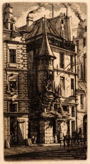 Charles Meryon (French, 1821 - 1868). House with a Turret, Weavers' Street, Paris
