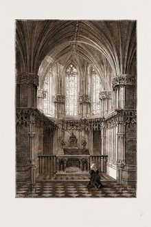 THE CHATEAU D'AMBOISE ON THE LOIRE, FRANCE, 1875: INTERIOR OF ST. HUBERT'S CHAPEL