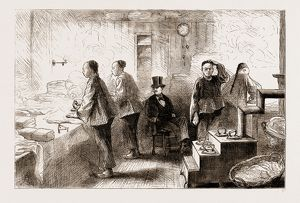 A CHINESE LAUNDRY IN PHILADELPHIA, 1876, US, U