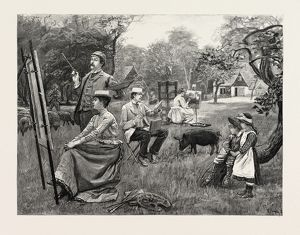 A DAY WITH THE SKETCHING CLUB AT BUSHEY, 1890 engraving