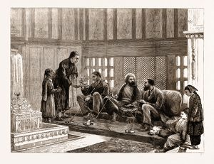 THE EASTERN QUESTION: A MORNING CALL IN A TURKISH HOUSE, ISTANBUL, TURKEY, 1876