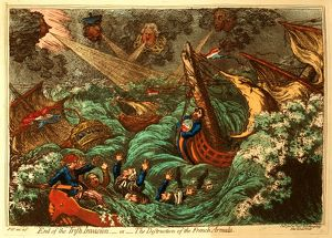 End of the Irish Invasion or the Destruction of the French Armada, Gillray, James