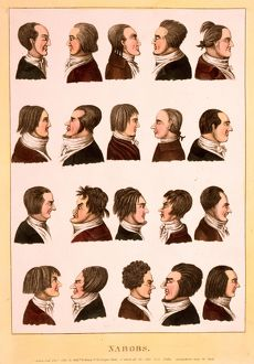 Engraving 1811, profile portraits of 20 men, called nabobs, who are representatives