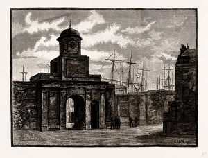 ENTRANCE TO THE EAST INDIA DOCKS, Blackwell, London, UK, engraving 1881 - 1884