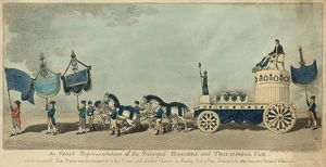 An exact representation of the principal banners and triumphal car, which conveyed