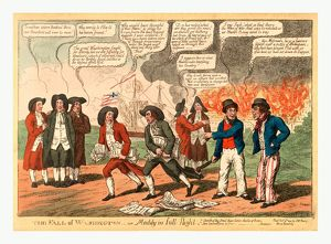 The fall of Washington or Maddy in full flight, Cartoon showing President James Madison