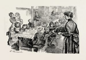 Free dinners to poor children, the dinner table at St. Philip's, Stepney, UK, 1889