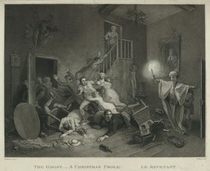 The ghost a Christmas frolic le revenant, en sanguine engraving 1814, a boy with