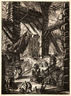 Giovanni Battista Piranesi (Italian, 1720 - 1778). The Staircase with Trophies, 1761