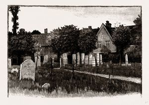GRAMMAR SCHOOLS AND ALMSHOUSES, WALTHAMSTOW CHURCHYARD, UK, engraving 1881 - 1884