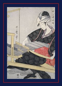 Hata-ori] = [Weaving on a loom], Kitagawa, Utamaro (1753?-1806), (Artist), Date Created