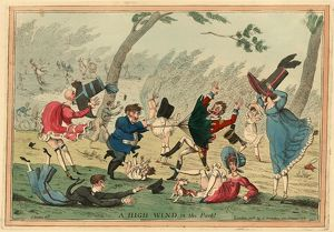 A high wind in the park! engraving 1819, a strong wind blowing down men, women