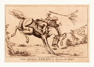 The horse America, throwing his master, en sanguine engraving shows a horse America