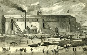 Ice Industry; U.S.A.; 1881; winter view of elevating ice into buildings