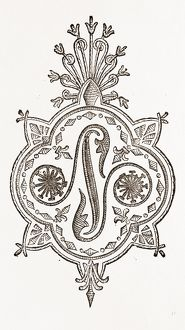 INITIAL FOR HANDKERCHIEFS (N.), NEEDLEWORK, 19th CENTURY EMBROIDERY