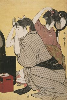 Kami-yui] = [Dressing the hair], Kitagawa, Utamaro (1753?-1806), (Artist), Date Created
