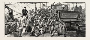 LANDED AT DEMERARA, Guyana, SOUTH AMERICA, EAST INDIAN IMMIGRANTS, ENGRAVING 1884