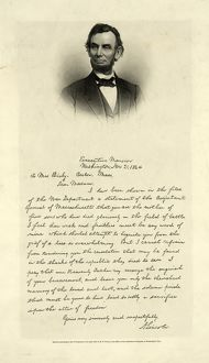 [Letter from Abraham Lincoln to Mrs. Bixby, with bust-length portrait of Lincoln] / engd