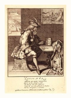 Louis d'Or, [1705], 1 print : etching., Print shows Louis XIV sitting at a table
