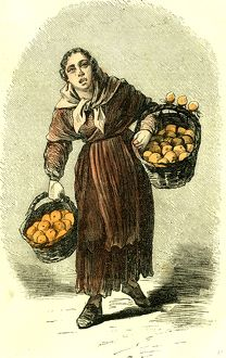 Madrid, Spain, Orange Girl, 1866, street character