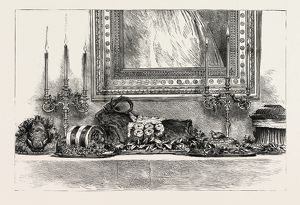 Her Majesty's the Queen's sideboard at Christmas 1889, boar's head, galantine