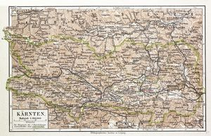 MAP OF KARNTEN, AUSTRIA, 1899