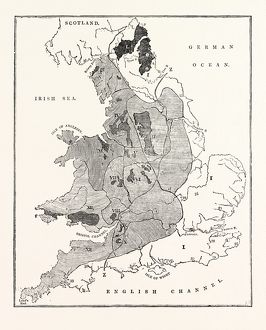 A MAP SHOWING THE GEOLOGICAL POSITION AND COMMERCIAL DISTRIBUTION OF COAL IN ENGLAND