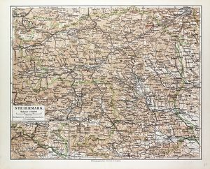 MAP OF STEIERMARK, AUSTRIA, 1899
