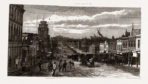MELBOURNE 1880, VIEW IN GREAT BOURKE STREET', 1880, 19th century engraving